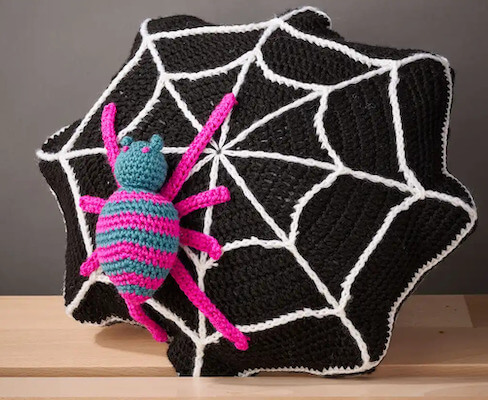 Free Crochet Spider Pillow Pattern by Gathered