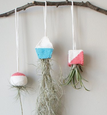 Geometric Air Hanging Planter Crochet Pattern by Midknits