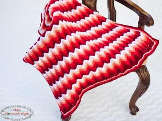 Gradient Ripple Blanket Crochet Pattern by Nicki's Homemade Crafts