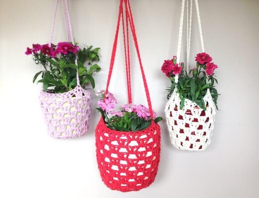 Granny Stitch Hanging Plant Crochet Pattern by Sunny And Stitch