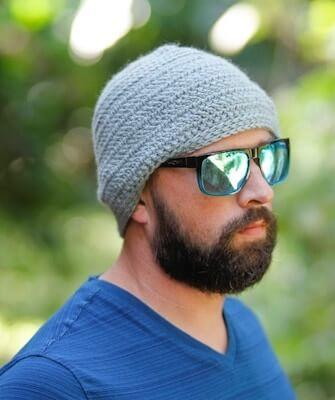Herringbone Men's Crochet Hat Pattern by Salty Pearl Crochet