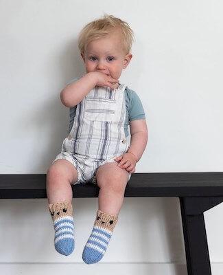 Little Bear Crochet Baby Socks Pattern by Ala Sascha