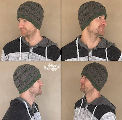 Men's Hat Crochet Pattern by Nella's Cottage