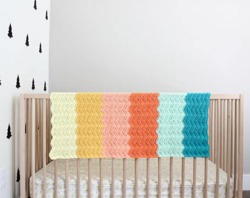 Ripple Crochet Baby Blanket Free Pattern by Make And Do Crew