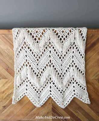 Sedona Fringed Free Crochet Ripple Blanket Pattern by Make And Do Crew