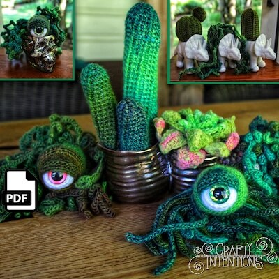 Succulent Cactus Eyeball Plant Crochet Pattern by Crafty Intentions