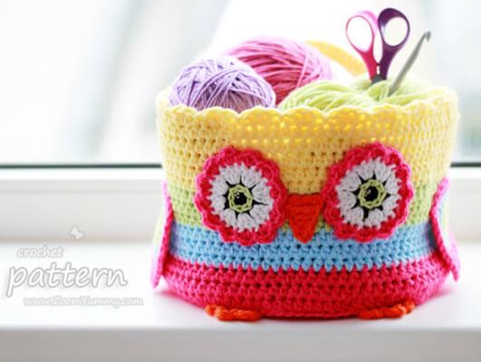 Crochet Owl Basket Pattern by Zoom Yummy