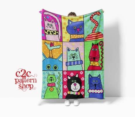 Colorful Cat Crochet Blanket Pattern by C2C Pattern Shop