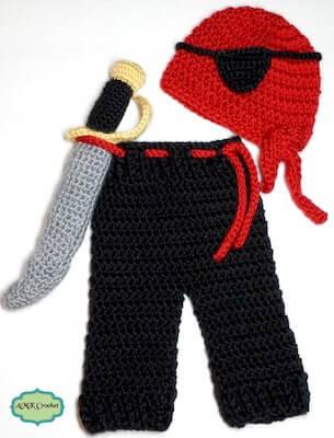 Crochet Pirate Outfit Pattern by AMK Crochet