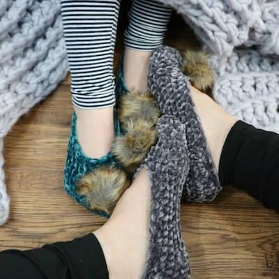 Crochet Velvet Ballet Pom Pom Slippers Pattern by MJs Off The Hook Designs