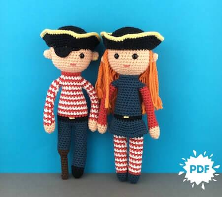 Peg Leg Pete and Polly Pirate Crochet Pattern by Make Me Roar
